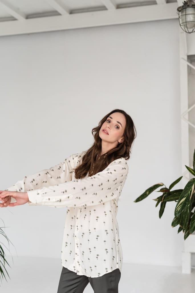 Koszula Boyfriend Shirt Oversize, w palmy, one size Monika  tYazR